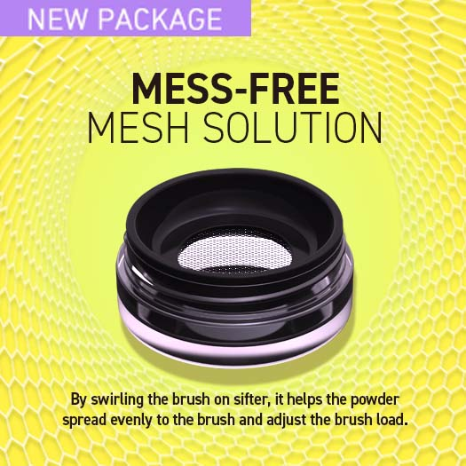 Powder jar with mesh shifter for easy controlling excess of powder.