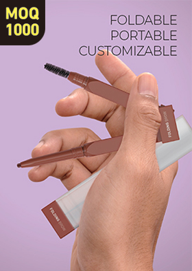 Dual type, soft & slim eyebrow pencil that can be folded and capped with one cap.