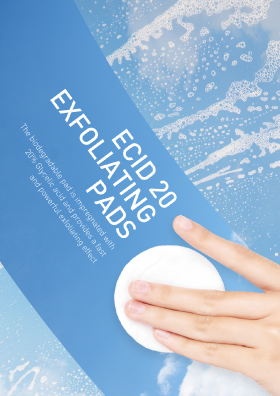 * An exfoliating pads with glycolic acid 20% to remove makeup residue, oil, sebum, and dead skin cells to rejuvenate skin.  * Ecid=Eco+Acid! An exfoliating biodegradable eco pads with glycolic acid 20% to remove makeup residue, oil, sebum, and dead skin cells to rejuvenate skin.