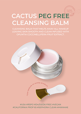 Cleansing balm that melts away all makeup leaving skin smooth and clean infused with Opuntia Coccinellifera Fruit Extract.