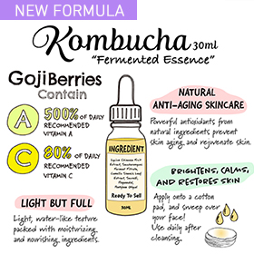 Brighten, calm, and restore your skin with a cup of kombucha tea of your skin! Natural anti-aging kombucha essence brewed with organic goji berries and fresh green tea leaves, and fermented for 7-10 days with scoby, just like the real kombucha tea.